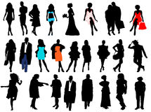 Women and men silhouettes Stock Photography