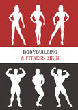 Women and men silhouettes of athletes. Poses bodybuilders  Stock Image