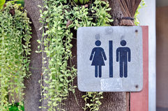 Women and men toilet sign in garden. Royalty Free Stock Images