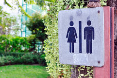 Women and men toilet sign in garden. Royalty Free Stock Photography
