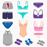 Women and men underwear clothes set for web and mobile design Royalty Free Stock Images