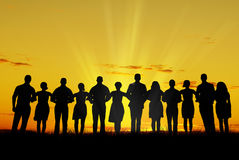 Women and men unity. Silhouette of men and women, walking hand in hand Stock Photography