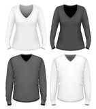Women and men v-neck t-shirt long sleeve. Royalty Free Stock Images