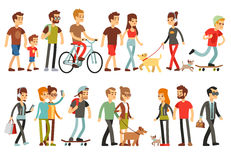 Women and men in various lifestyles. Cartoon characters vector set. Character people walk, illustration of man and woman walking Stock Photo