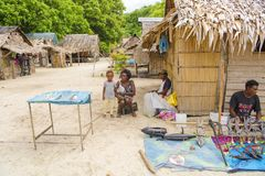 Selling souvenirs on village of  Solomon Islands Royalty Free Stock Image