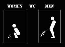 Women and men wc. Illustration with a creative view of WC signs Stock Photo