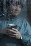 Women with menopause. Elderly sad woman is depressed because of menopause stock photos