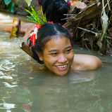 Women Mentawai tribe fishing. Stock Image