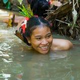 Women Mentawai tribe fishing. stock image