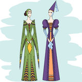 Women of the middle ages in historical clothes Royalty Free Stock Photos