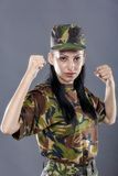 Women in military clothes boxing Stock Photo