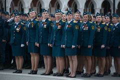 Women of the Ministry of Emergency Situations. Yoshkar-Ola, Russia - May 4, 2017 General rehearsal of the Victory Parade in Yoshkar-Ola. The female regiment of Stock Photos