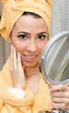 Women with mirror Royalty Free Stock Images
