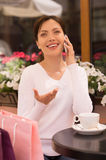 Women with mobile phone. Royalty Free Stock Photos