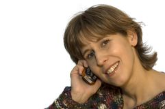 Women with mobile2. A beautiful woman calling her love with a mobile phone. On white background stock images