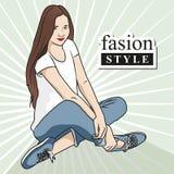Women model. Vector illustration. Beautiful woman fashion buy stylish things. Graphic design vector illustration Stock Photo