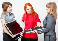 Women with a monitor and keyboard Royalty Free Stock Photo