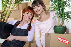 Women moving into an apartment Royalty Free Stock Photo