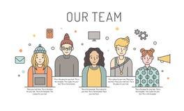 Women multicolored vector work team illustration. Business design concept. Minimalistic design. Stock Image