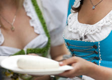Women at Munich Beer Festival. Women with white sausage at traditional Munich Beer Festival stock photos