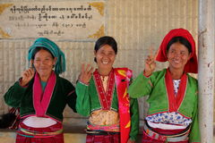Women from Myanmar in traditional costume Stock Photos