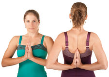 Women In Namaskar Posture Royalty Free Stock Photos