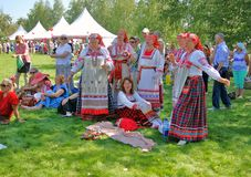 Women in national costume in Tsaristyno park Stock Photography