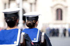 Women of the Navy. Italian military during a ceremony of the Italian armed forces Royalty Free Stock Images