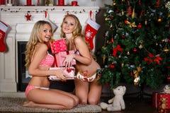 Women near Christmas tree. Royalty Free Stock Image