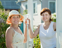 Women near fence wicket Stock Images