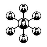 Women Network Icon Vector Symbol Group of People and Teamwork of Connected Business Person. In Glyph Pictogram illustration Royalty Free Illustration