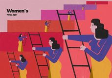 Women new social empowerment and rise. Illustration that reflects the social and historical rise of women. New era of women and their empowerment. Colourful royalty free illustration