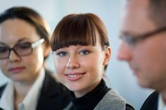 Women with nice girl and men. Women in glasses with nice girl and men in glasses royalty free stock photo