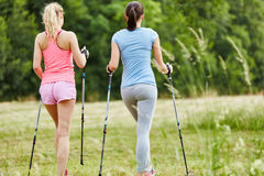 Women nordic walking together Royalty Free Stock Images
