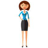 Women in office clothes. Beautiful woman in business clothes flat cartoon vector illustration. Eps10. Isolated on a white backgrou Royalty Free Stock Photo