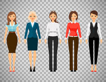 Women in office dress code clothes. Icons  on transparent background. Vector illustration Royalty Free Stock Photo