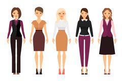Women in office dress code clothes. Women in office dress code in violet and beige colors on white background. Vector illustration Royalty Free Stock Photos