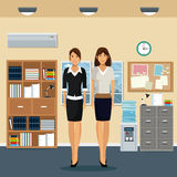 Women office work standing cabinet file cooler water bookshelf notice board and window city background. Vector illustration Royalty Free Stock Image