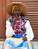 Women in Old Havana smoking cuban cigars Royalty Free Stock Photo