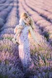 Women On Lavander Field  With Baby In Dress Stock Photography