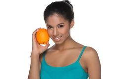 Women with orange. Stock Photos