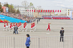 Women orchestra march at the parade on annual Victory Day Stock Image
