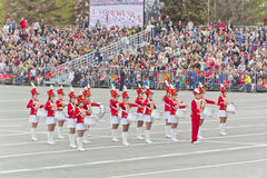 Women orchestra march at the parade on annual Victory Day Stock Images