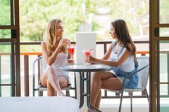 Women in outdoor cafe stock image