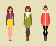 Women in outerwear. Vector illustration Royalty Free Stock Image