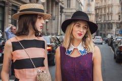 Women outside Ferragamo fashion shows building for Milan Women's Fashion Week 2014 Stock Photo