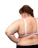Women with overweight from behind. Isolated on white Stock Images