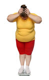 Women with overweight on scales Royalty Free Stock Photography