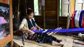 Women Pa-Ka-Geh-Yor (Karen Sgaw) was weaving. stock video footage
