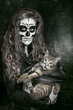 Women painted as skeleton Royalty Free Stock Photography